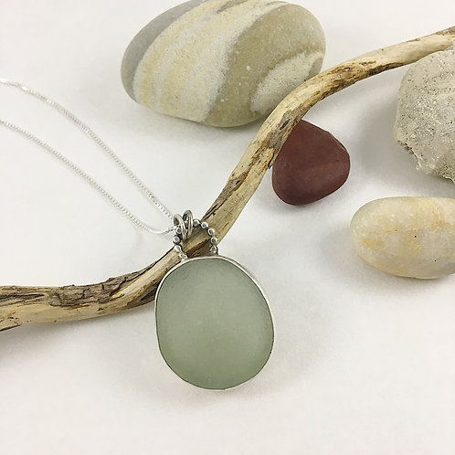 Barcelona sea glass, sea glass pendant, reversible pendant, mermaid jewelry necklace, handmade silver jewelry