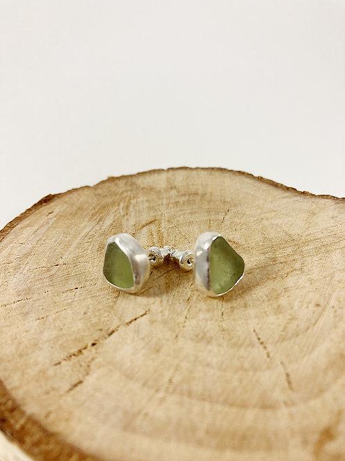 Seafoam green sea glass stud earrings, sea glass jewelry, sea glass earrings, silver stud earrings, bespoke jewellery