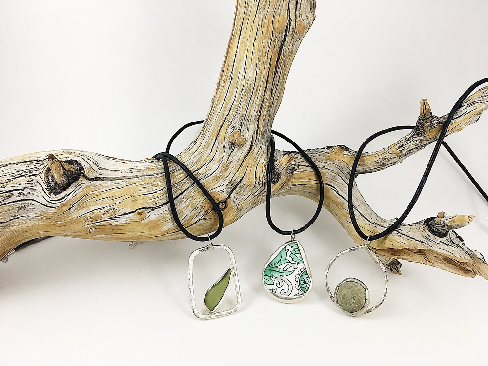 sea glass jewelry, pebble jewelry, broken china jewelry