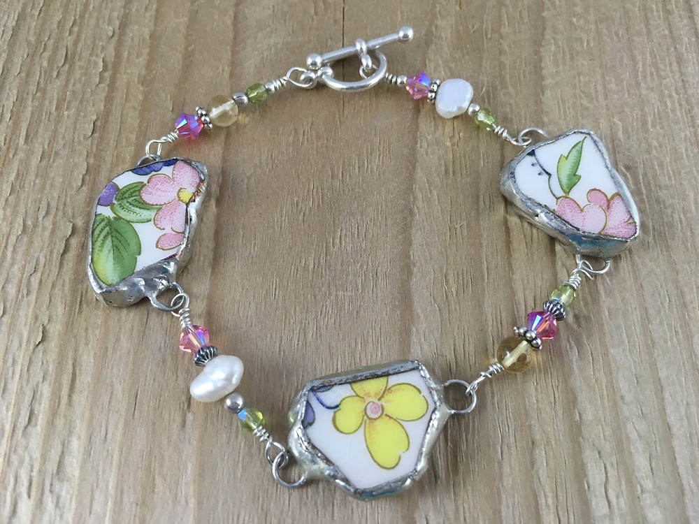 broken china sterling silver, pearl and gemstone bracelet