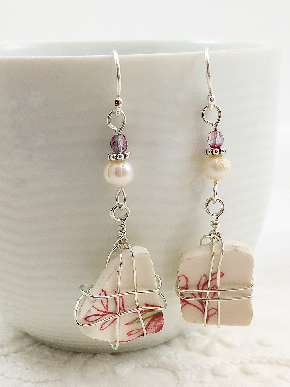 upcycled broken china jewelry earrings