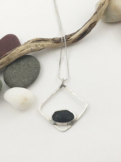 handmade sterling silver jewelry, silver pendant, nature jewelry, natural jewelry, pebble jewelry, pebble pendant