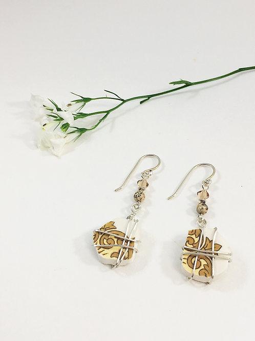 neutral earrings, broken china jewelry, broken china drop earrings, upcycled earrings, recycled earrings, sterling earrings