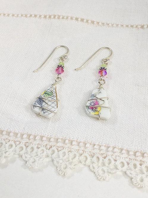 upcycled earrings, broken china earrings, broken china jewelry, handmade earrings, recycled china jewelry, sterling silver