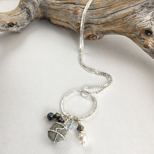 handmade sterling silver and gray pebble pendant with freshwater pearls and Swarovski beads