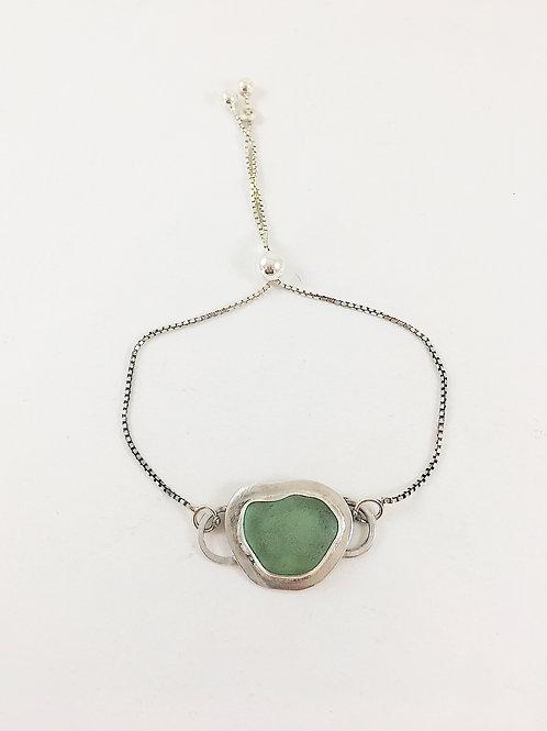 seafoam green sea glass bracelet, sea glass jewelry, sterling silver bracelet, silver jewelry, artisan sea glass jewelry