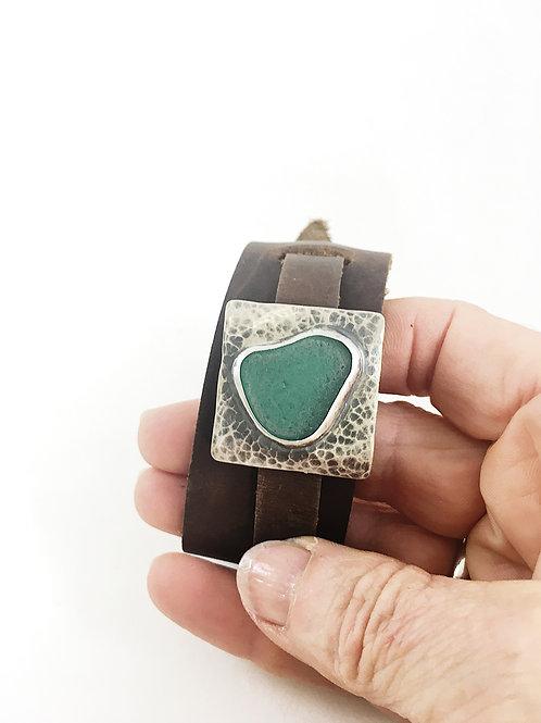 teal sea glass leather cuff bracelet, leather jewelry, silver jewelry, unisex jewelry, minimalist jewelry, sea glass bracelet