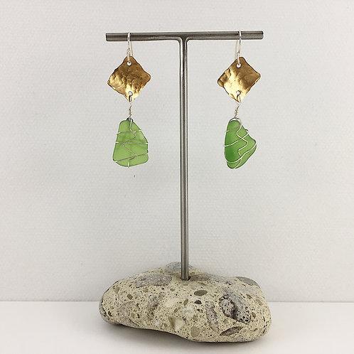 Handmade Sterling Silver Green Sea Glass Earrings