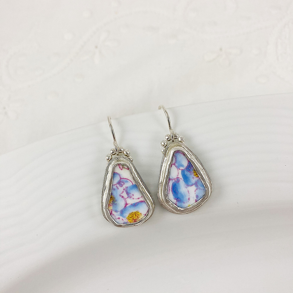 Broken china earrings, broken china jewelry, forget me not jewelry