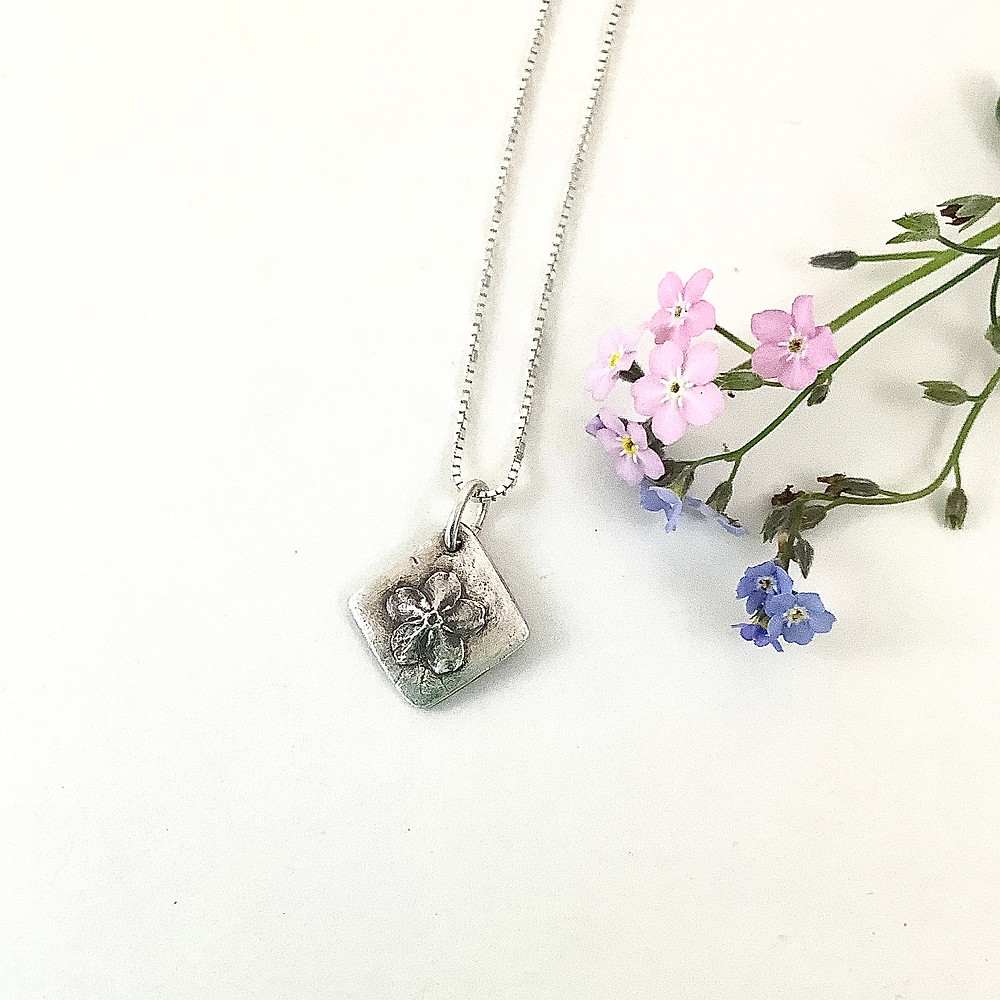 Forget-me-not mini pendant, PMC jewelry, silver flower pendant, botanical jewelry, nature jewelry