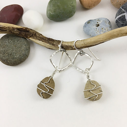 Handmade Sterling Silver Hoop and Beach Pebble Earrings