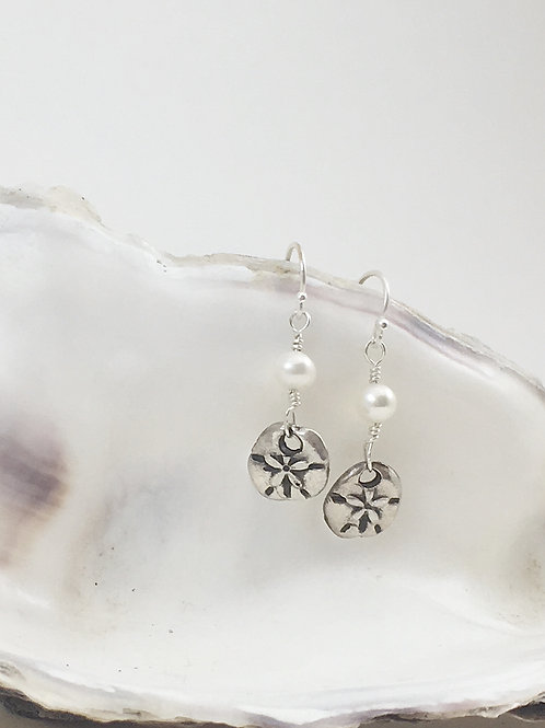 Silver sand dollar earrings, handmade silver jewelry, beach jewelry, beach bridal jewelry, pearl earrings, handmade earrings