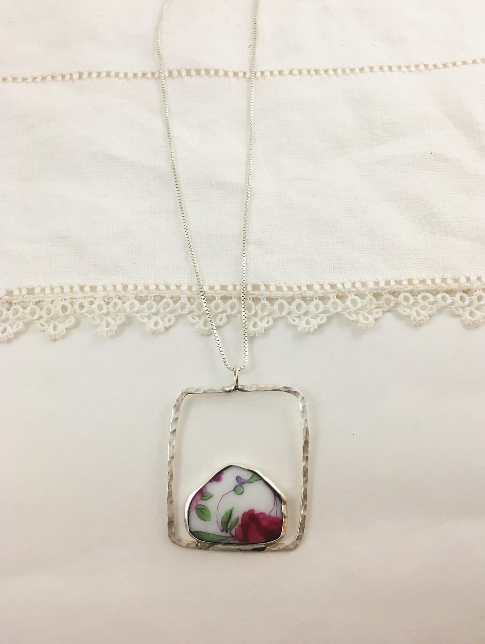 broken china jewelry upcycled pendant