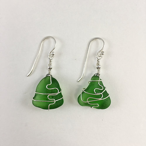 Handmade Sterling Silver and Green Sea Glass Earrings with Sterling Wire Wrapping Detailing