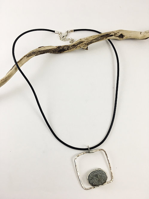 Handmade Gray Beach Pebble and Sterling Silver Pendant