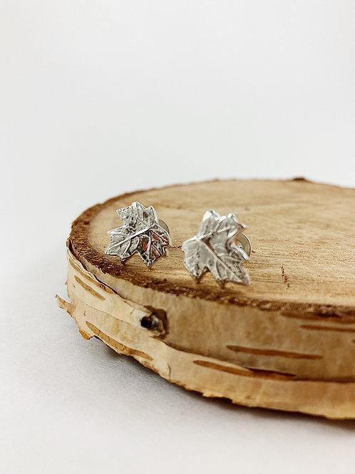 silver maple leaf stud earrings, nature jewelry, PMC jewelry, botanical jewelry, silver maple leaf jewelry, nature jewellery