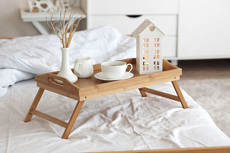 Wooden tray with coffee and interior dec