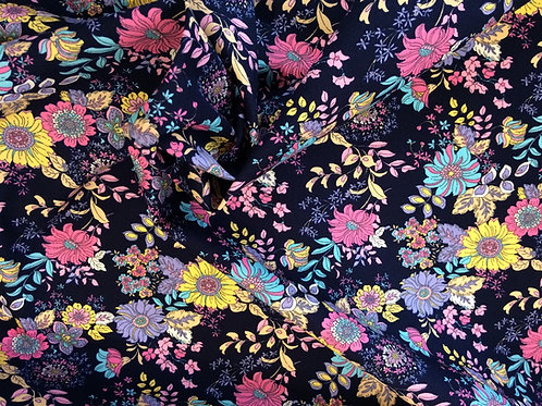Navy/Aqua Floral Cotton Poplin