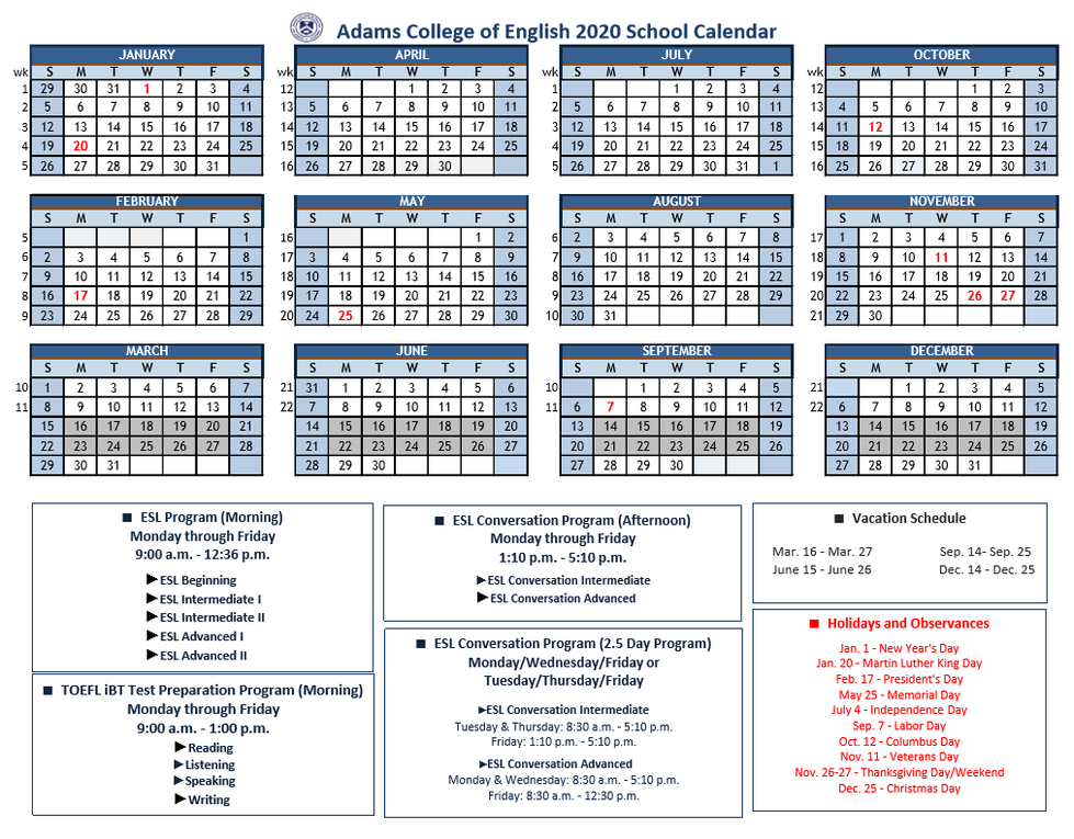 2020 School Caldendar