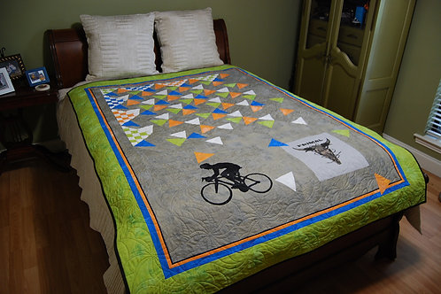 Tumbling Triangles Primal Bicycle Quilt