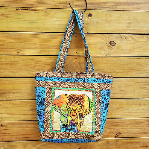 African Safari Tote - Elephant and Rhino