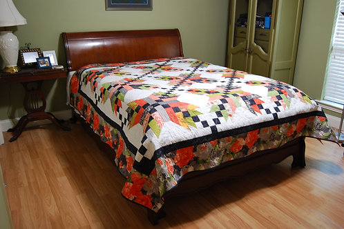 Jamaican Star Queen Size Quilt - Appraised Value $1280