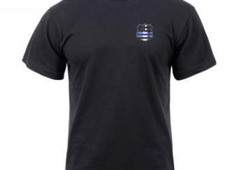 Thin Blue Line Shield T-Shirt Front and Back 2937