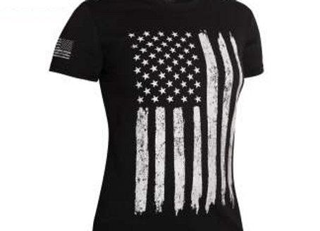 Womens Distressed US Flag Long T-Shirt 5983