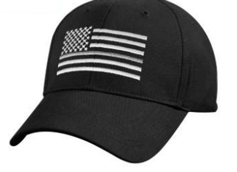 Thin Silver Line Flag Low Profile Cap