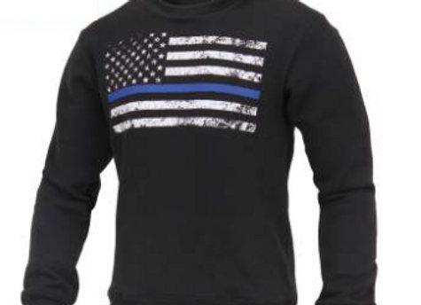 Thin Blue Line Flag Crew Neck Sweatshirt 2844