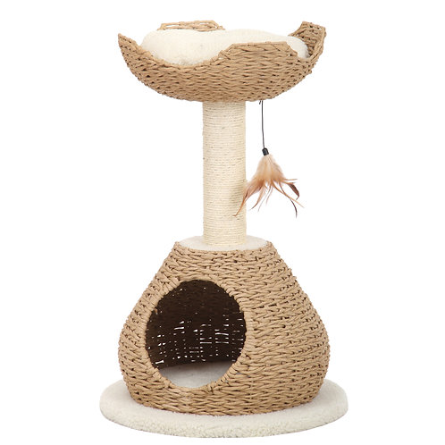 PetPals WalkUp - Natural Color Cat House with Condo & Perch 18X18X29""