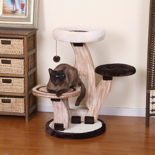 PetPals Wood Three Level Cat Tree With Chocolate And Ivory Covered Perches.  Sisal Scratching Mat, With Interactive Racing Toys, And Teasing Toys For  Extra ...