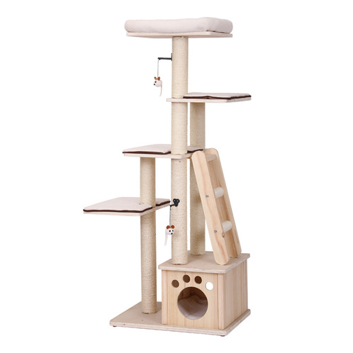 PetPals Neutral Wood Ivory Five Level Cat Tree With Touch Of Brown Details.  Designed For The Avid Climbing Cat. Ladder, Resting Perches, Condo And  Teasing ...