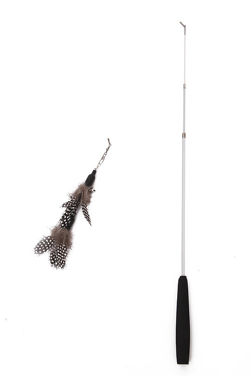 PetPals - Adjustable Feather Toy can be extended from 15 to 38 inches-Black