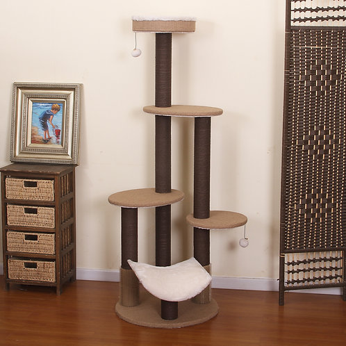PetPals Clement - Fleece Multi-Level Cat Tree with Rubber Massager & Perches