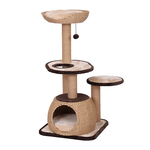 """PetPals Reign - Natural Cat Tree with Condo & Paper Rope Post 21X21X43"""""""