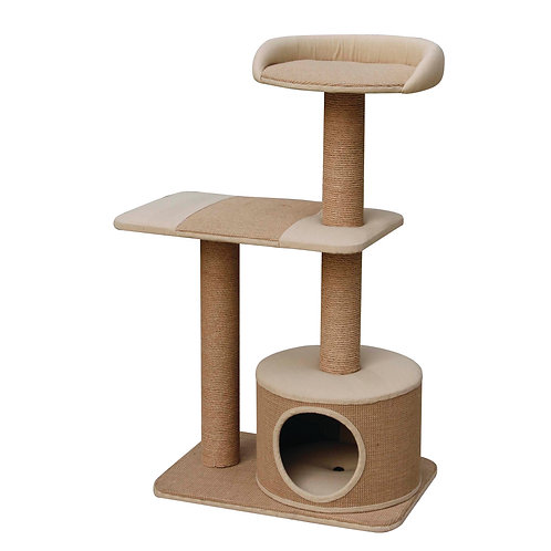 PetPals Piller - Jute Three Level Cat Tree with Condo 21X14X38""