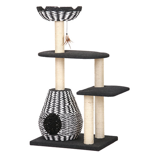 """PetPals Ace - Black and White Contemporay Cat Furniture with Teaser 26X18X49"""""""