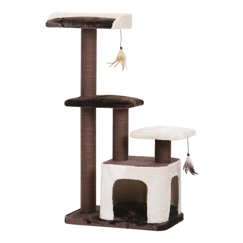 PetPals Crème   Brown And Cream Three Level Cat Tree With Two Teasers | Cat  Furniture | B2B | PetPals Group Inc.