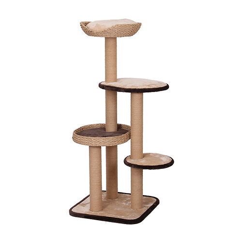 PetPals Treehouse - Natural Four Level Cat Tree with Perches 21X21X53""
