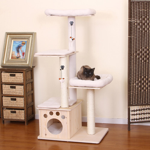 Lovely PetPals Neutral Wood Ivory Four Level Cat Tree With A Hint Of Brown  Details. Resting Perches, Condo And Teasing Toys Attached To Enhance The  Fun!