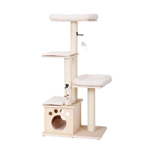 PetPals Neutral Wood Ivory Four Level Cat Tree With A Hint Of Brown  Details. Resting Perches, Condo And Teasing Toys Attached To Enhance The  Fun!