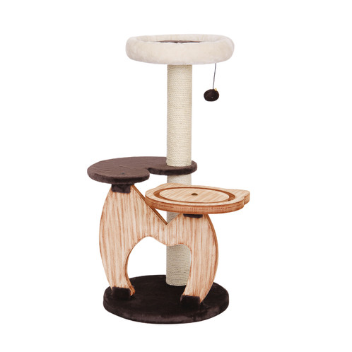PetPals Natural Wood Three Level Cat Tree With Chocolate And Ivory Covered  Perches. Sisal Scratching Post, With Interactive Racing Toys, And Teasing  Toys ...