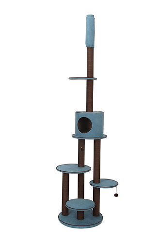 PetPals Summit - Chenille Adjustable Five Level Cat Tree with Paper Rope Post &