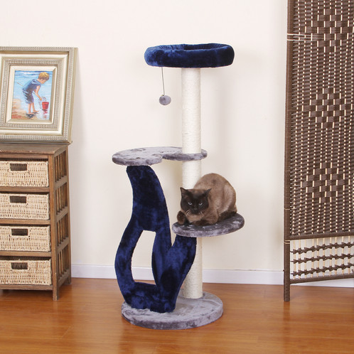 PetPals Grey And Metallic Blue Three Level Perch With Sisal Posts, And  Teasing Toys For Extra Fun!This Cat Tree Features Three Levels With Fleece  Covered ...