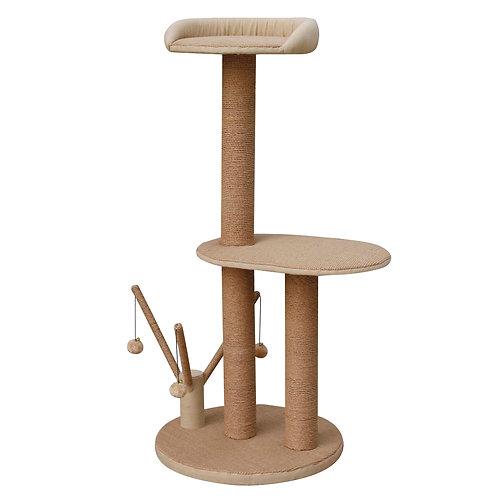 PetPals Citadel - Jute Two Level Cat Tree with Three Hanging Balls