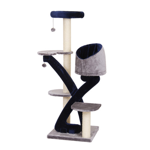 PetPals Grey And Metallic Blue Five Level Intertwined Perches With Sisal  Posts, And Teasing Toys For Extra Fun! This Cat Tree Features Five Levels  With ...