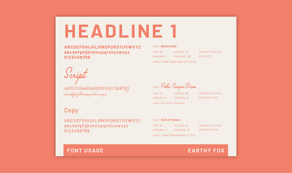 Earthy Fox Brand Guidelines Font Usage