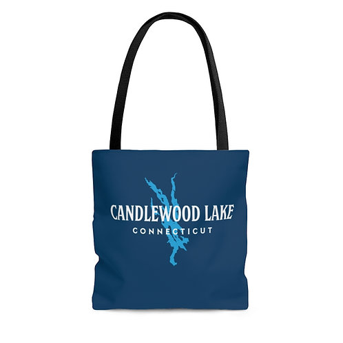 Vintage Text with Lake Shape Tote Bag