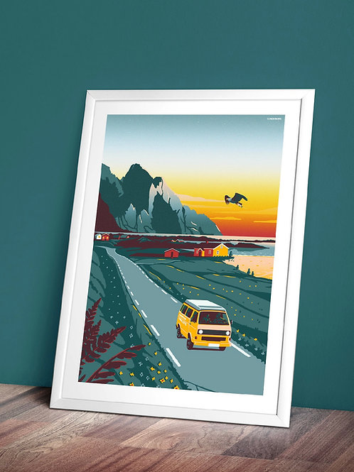 Lofoten Vanlife postcard A5 size 14,8 × 21